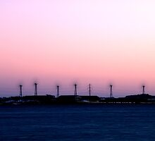 Windturbines at night by Nordlys