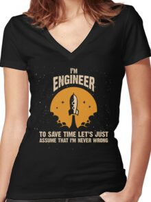 I'm ENGINEER Women's Fitted V-Neck T-Shirt