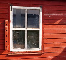 Window on red wall by Nordlys
