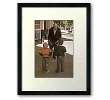 The boys meet Sid Framed Print