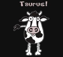 Cartoon bull representing Taurus Kids Tee