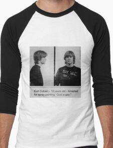 Kurt Cobain Mugshot  Men's Baseball ¾ T-Shirt