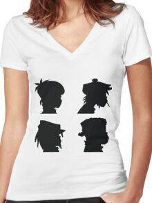the gorillaz  Women's Fitted V-Neck T-Shirt