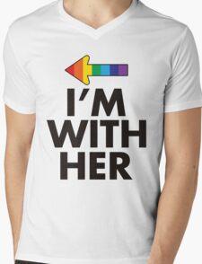 I Am With Her Lesbian Couples Design Mens V-Neck T-Shirt