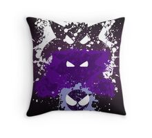 Gastly, Haunter, and Gengar Splatter Throw Pillow