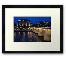 Paris Blue Hour - Pont Neuf Bridge and La Samaritaine Framed Print