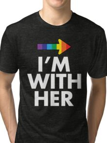 I Am With Her Lesbian Couples Design Tri-blend T-Shirt