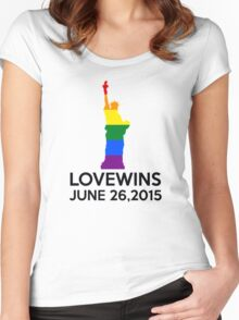 LOVE WINS JUNE 26,2015 Women's Fitted Scoop T-Shirt