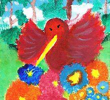 Happy Flowers and Hummingbird by KarasuHachidori