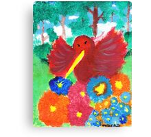 Happy Flowers and Hummingbird Canvas Print