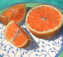 Sweet, sliced, homegrown orange by bernzweig