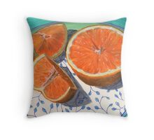 Sweet, sliced, homegrown orange Throw Pillow