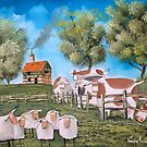 SHEEP COWS PAINTING by gordonbruce