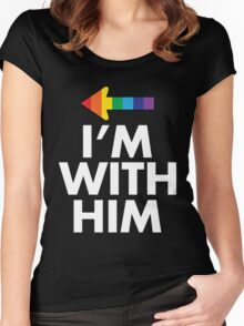 I Am With Him Gay Couples Design Women's Fitted Scoop T-Shirt