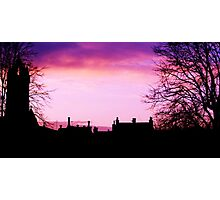 Silhouette of Peebles with Old Parish Church Photographic Print
