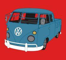 Blue Split Screen VW Kombi Pick up One Piece - Short Sleeve