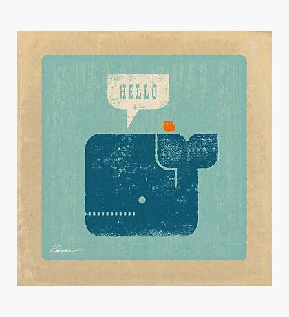 Square Whale Says Hello to Bird Photographic Print