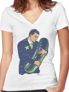 Hold The Pickle - American Oddities #3 Women's Fitted V-Neck T-Shirt