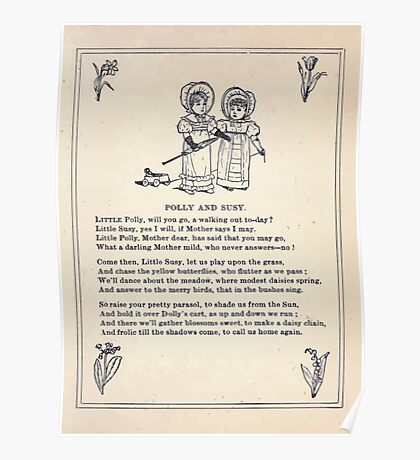Miniature Under the Window Pictures & Rhymes for Children Kate Greenaway 1880 0033 Polly and Susy Poster