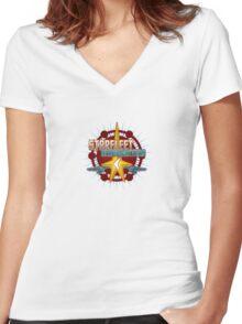 Starfleet Headquarters - Full Front Women's Fitted V-Neck T-Shirt