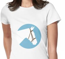 Minimalist Horse → White/Blue  Womens Fitted T-Shirt
