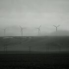Windmills in the fog by MandaP
