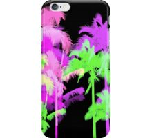 Tropical Heat Wave Neon Hawaiian Palm Trees - Black iPhone Case/Skin