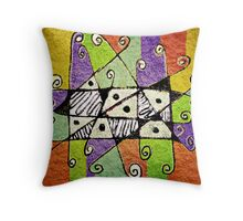 Multicolored Tribal Print Abstract Art Throw Pillow