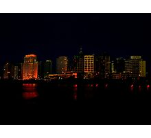 Cityscape of Punta del Este Night Scene View Photographic Print