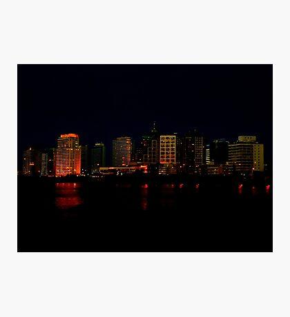 Cityscape of Punta del Este Night Scene View Photographic Print