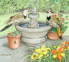 Flickers at the Fountain on a Hot Summer Day by clotheslineart