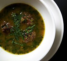 Aarshe Saak - Spinach + Lemon Soup with Meatballs by MsGourmet