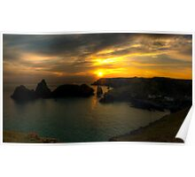 Kynance Cove at Sunset Panoramic Poster