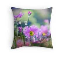 City skyline mixed with flowers  Throw Pillow