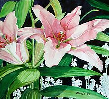 Pink Lilies by clotheslineart