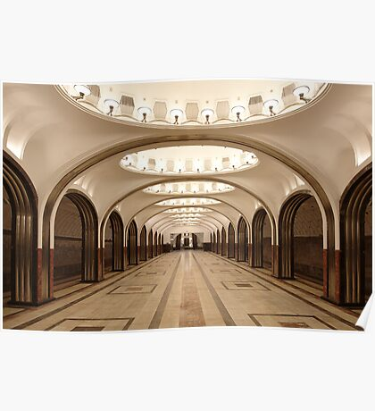Mayakovskaya Metro Station, Moscow Poster