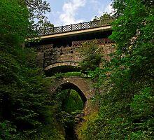 The three bridges at Devil's Bridge, Pontarfynach, Wales, UK by buttonpresser