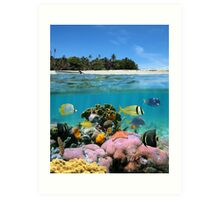 Beach and coral reef Art Print