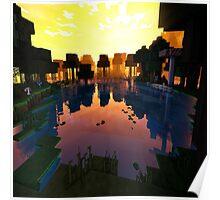 Beautiful Pond on Minecraft accompanied by Shaders Poster