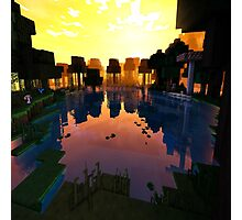 Beautiful Pond on Minecraft accompanied by Shaders Photographic Print