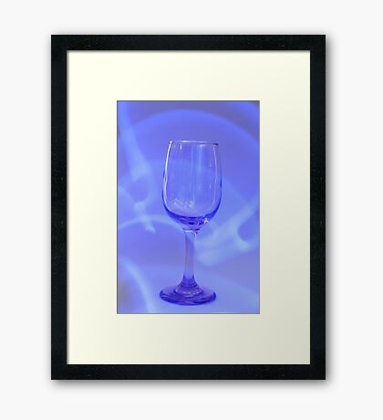 Blue Abstract Wine Glass Framed Print