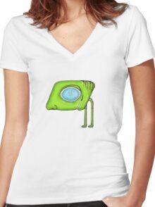 Funny Alien Monster Character Women's Fitted V-Neck T-Shirt
