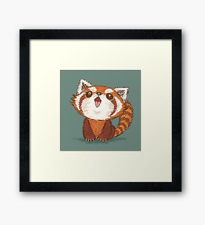 Red panda happy Framed Print