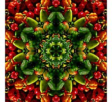 Peppy red and green pepper mandala Photographic Print