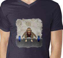 Sock Monkey Bodybuilder Mens V-Neck T-Shirt