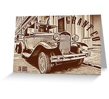Vintage old classic car on postcard Greeting Card