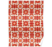 Red, Orange and White Abstract Design Pattern Poster