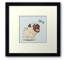 Happy Pug and bone Framed Print
