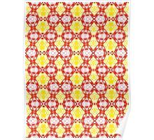 Yellow, Red and White Abstract Design Pattern Poster