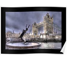 Tower Bridge in London w/ Fountain (Bordered) Poster